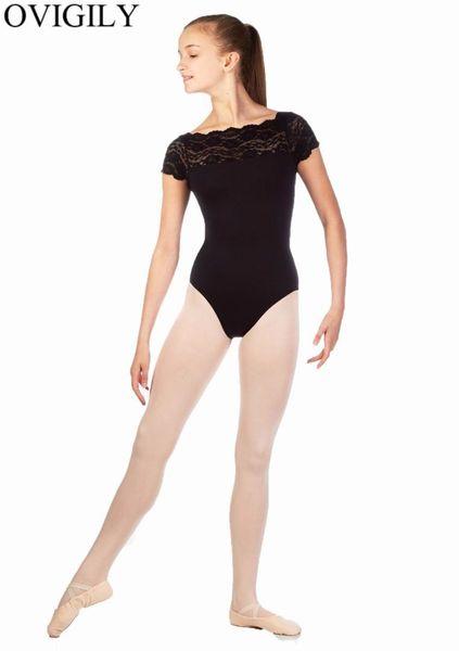 2fe003daa6c7 OVIGILY Childrens Lace Short Sleeve Ballet Dance Leotards For Kids Nylon  Black Gymnastics Leotard For Girls Competition Top Wear
