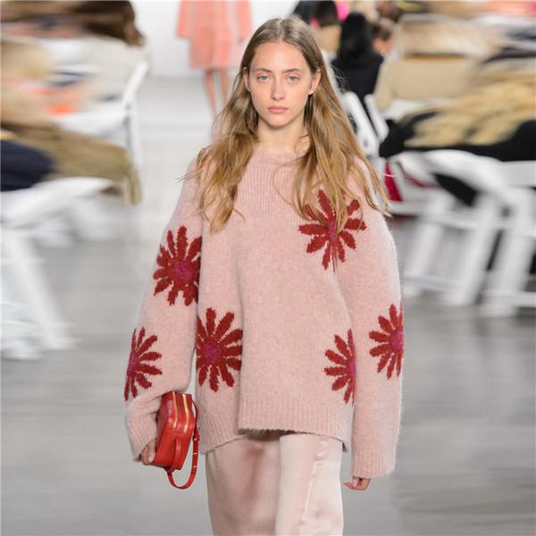 Suéter de las mujeres casa de manga larga de buena calidad fácil Cien y hasta gran flor de lana ropa femenina invierno dinero