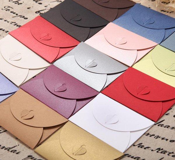 100pcs/lot Colorful Paper Envelope Pearl Colored Heart Clasp Envelopes Wedding Invitation Envelope Gift DIY Envelopes 10.5*7.2cm