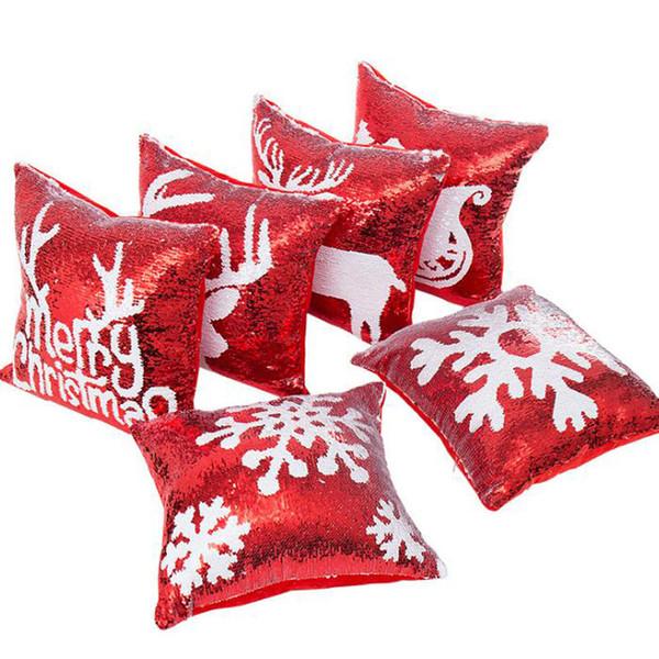 Meerjungfrau Doppel Pailletten Kissen Fall Weihnachten Schneeflocke Rentier Kissenbezug Home Sofa Auto Kissenbezug ohne Kern QW8413