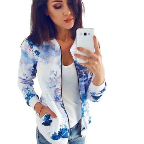 Ladies Floral Print Casual Top Coat Outwear Women Autumn Long Sleeve Leather Jacket Coats Zip Up