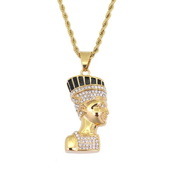 Egyptian Pharaoh Pendant Necklace Stainless Steel Inlaid Crystal Pharaoh Pendant 60cm Chain Male and Female Jewellry