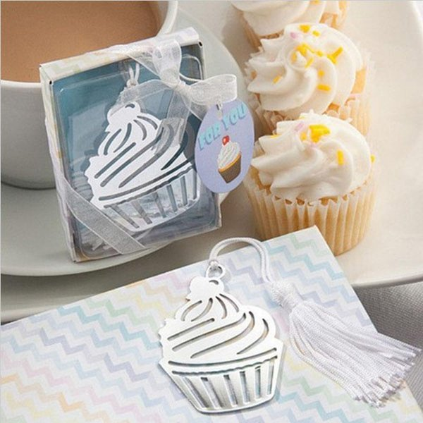 100PCS FREE SHIPPING Sweet Cupcake Bookmark with Tassel Unique Wedding Favors Baby Shower Great Party Favors Birthday Gifts