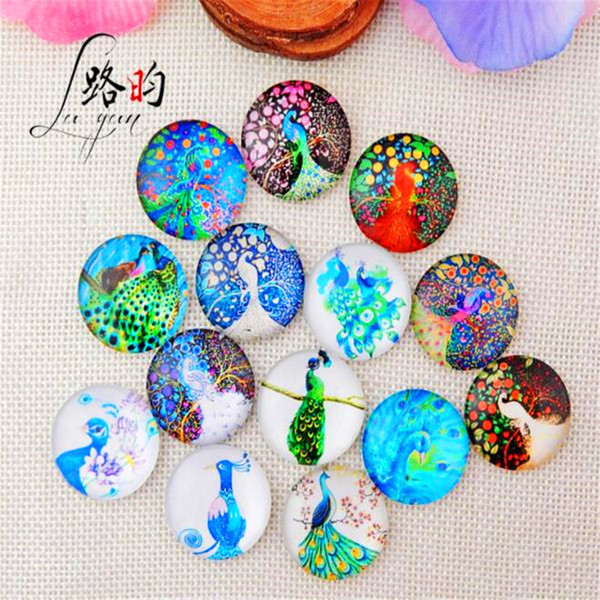 mix colors round Glass Dome PEACOCK Time gem cabochon Crystal fridge sticker non-magnetic photo Cover craft Accessories BC04