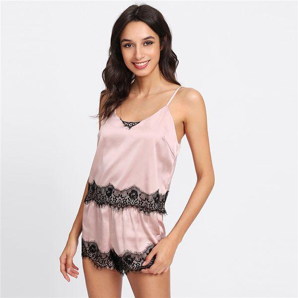 SHEIN Pink Spaghetti Strap Lace Applique Satin Cami Top and Shorts Pajama Set Fall Womens Sleepwear Pajama Set Colothing