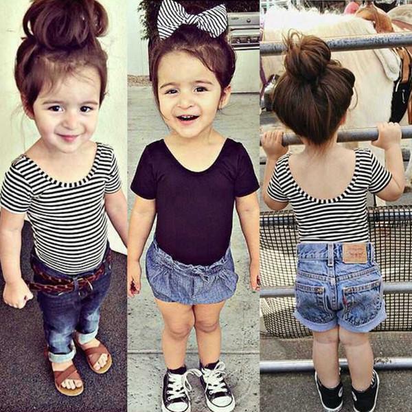 Baby Girls T Shirt Short Sleeve Kid Summer Shirt Crop Tops Striped Modal Shirts Tee Kids Clothing 2018