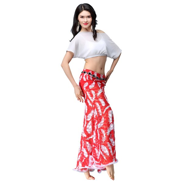 2018 New Belly dance summer mesh practice clothes adult suit Top&skirt&Safety Pants 4Color