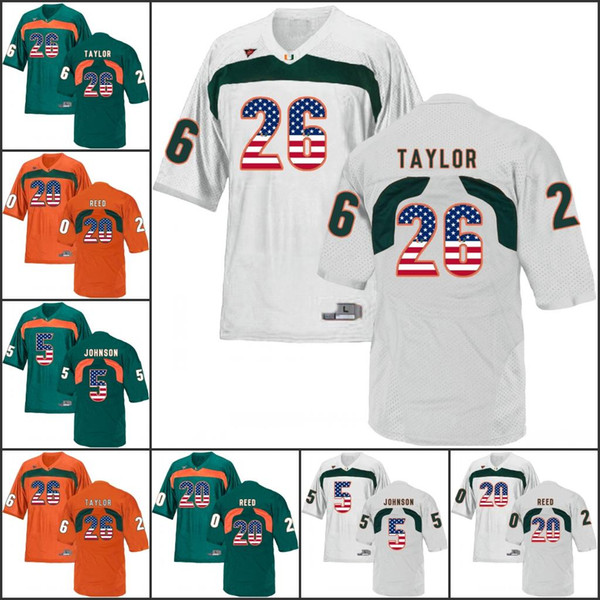 National flag NCAA Miami Hurricanes College Football jerseys Homer Jenkins Elder Gore Coley Howard Benjamin Vernon Hester Dorsett Walford