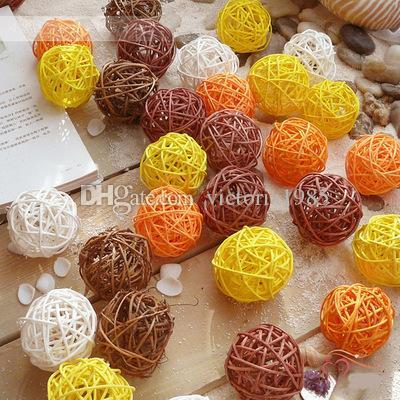 3cm 100pcs/lot Artificial Straw Ball For Birthday Party Wedding Decoration Rattan ball Christmas Decor Home Ornament Supplies