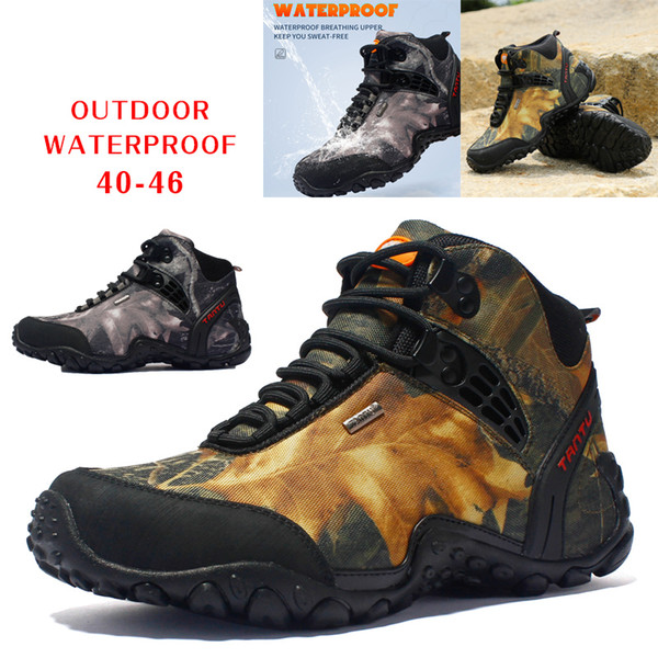 Winter Men Outdoor Waterproof Mountaineering Boots Wear-resistant Camouflage Boots Resistant Breathable Climbing Hiking Working Shoes 45 46