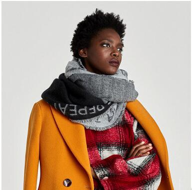 European and American Style Geometry Warm Scarves For Women Vogue Letter Jacquard Shawl Thicken Winter Tassel Scarf Cashmere Pashmina