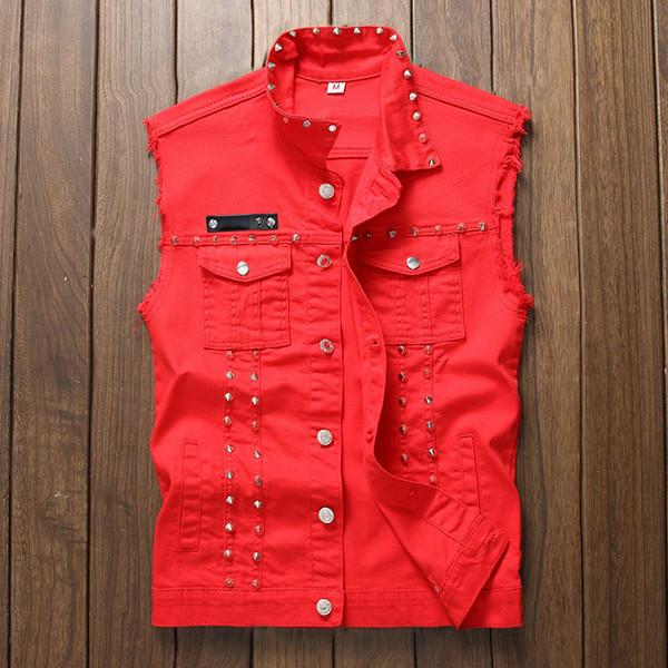 Punk Style Jeans Gilet Avec Rivets Nouveauté Hip Hop Sans Manches Jeans Vestes Pour Homme Noir Blanc Rouge