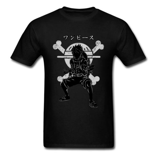 Black T Shirt Men T Shirt Mens Cotton Tshirts Pirate King Tshirt Luffy Tops Print Japan Anime Tees Zoro Straw Hat Family Clothes