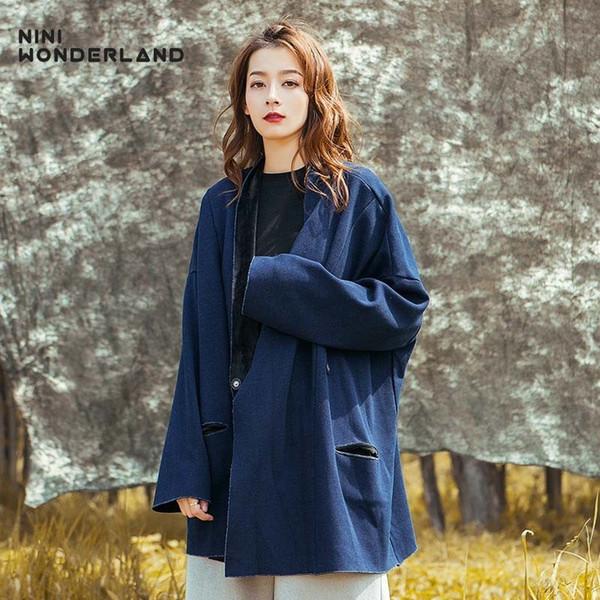 NINI WONDERLAND 2018 Sonbahar Kış Kovboy Ceket Palto Kadınlar Katı Casual Hırka Kadın Gevşek Moda Giyim Ceket Artı Boyutu