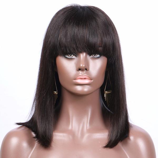 100% aaaaaaaaa unprocessed remy virgin human hair bangs natural color medium natural straight bob full lace wig for women