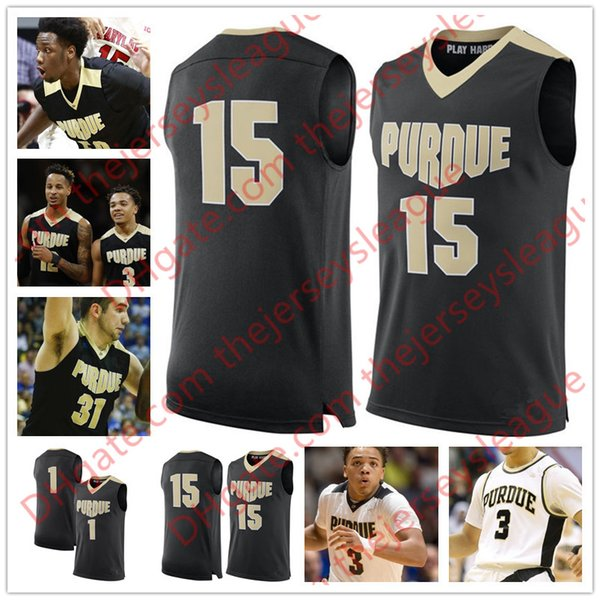 Custom Purdue Boilermaker #3 Carsen Edwards 12 Vincent 15 Tommy Luce 32 Matt Haarms White Black Stitched NCAA College Basketball Jerseys