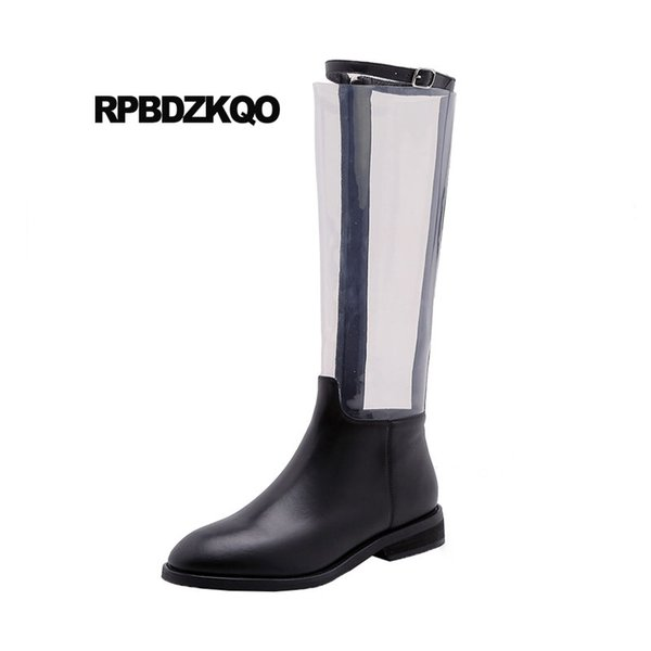 long handmade clear big size tall designer shoes women luxury 2018 winter black fur pvc knee high flat boots autumn transparent