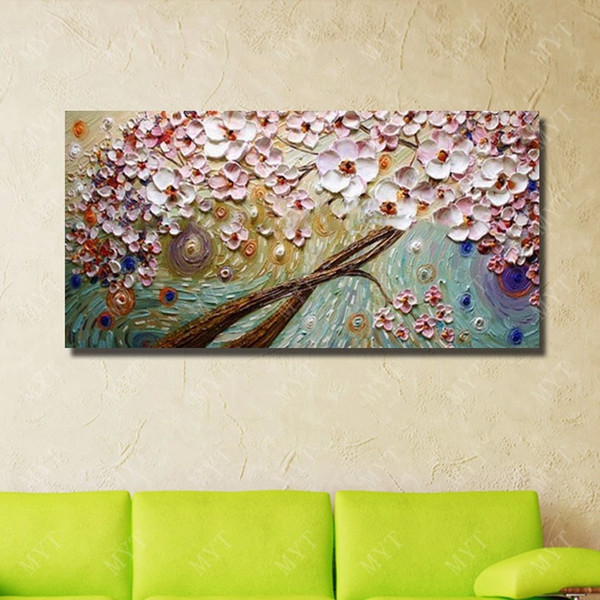 1 Piece Modern Living Room Wall Decor Beautiful Flower Oil Painting Modern Canvas Art Hand Painted Knife Painting No Framed