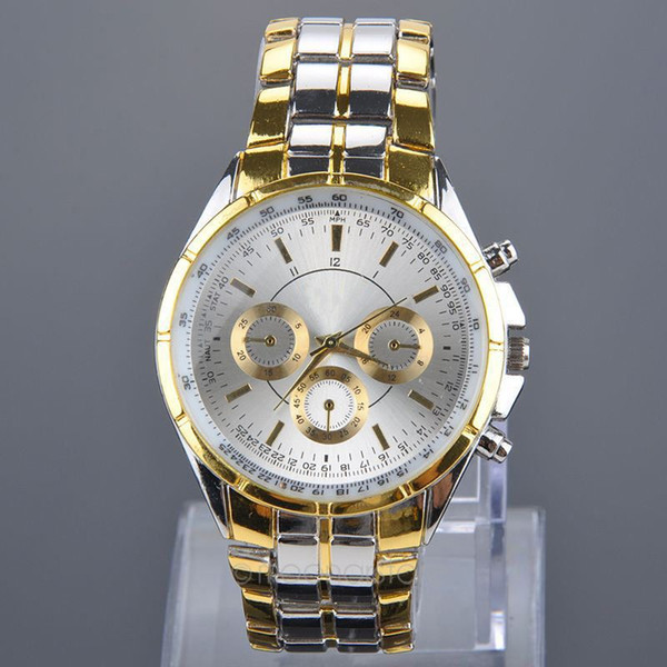 2017 Fashion Full Stainless Steel Gold Watch  Watches Male Men's Quartz Watch Precise Scale Wristwatch relogio
