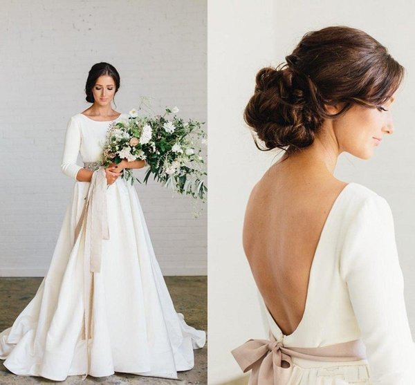 Vintage Country Stain Wedding Dresses with Sleeves 2019 Blush Sash Jewel Neck Low Back Full length Bohemian Wedding Gown Cheap