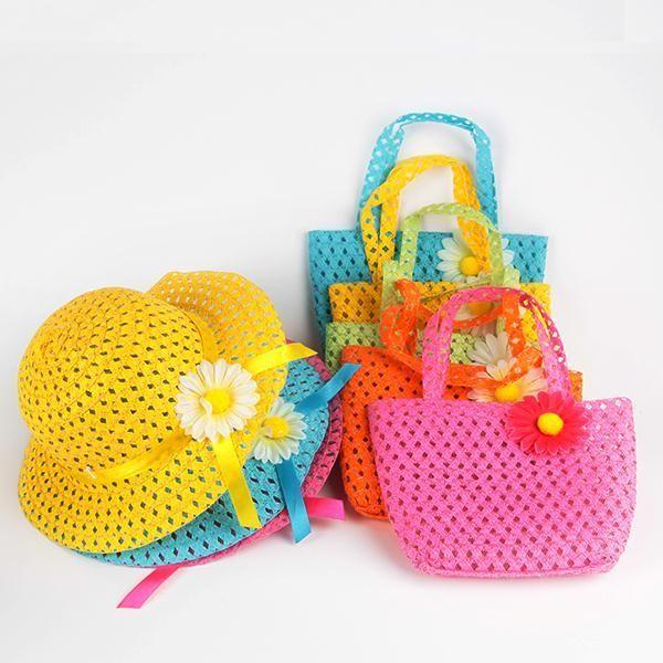 Summer Sun Hat Girls Kids Beach Hats Bags Flower Straw Hat Cap Tote Handbag Bag Suit 1-6Y