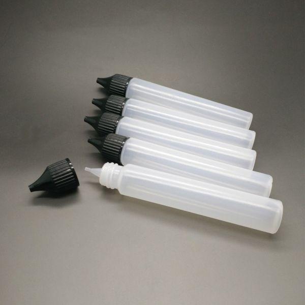 30ml Empty Bottles Slim Pen Style E-Liquid Vape E Juice Oil Plastic PE Bottle Long Thin Tip Dropper Dropper Bottle White Black Caps