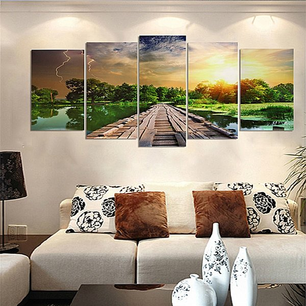 5pcs No Frame Wall Art Picture Printed Canvas Oil Painting Multi-picture Combination Home Dormitory Decor Wood Road to Flash
