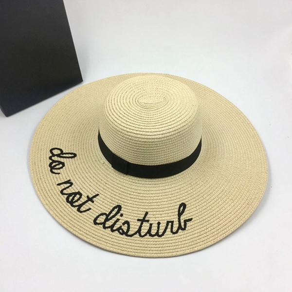 New Brand New Lettre Big Brim Sun Chapeaux Chapeaux De Paille Pour Les Femmes D'été Chapeau Panama Dames Plage Soleil Chapeau