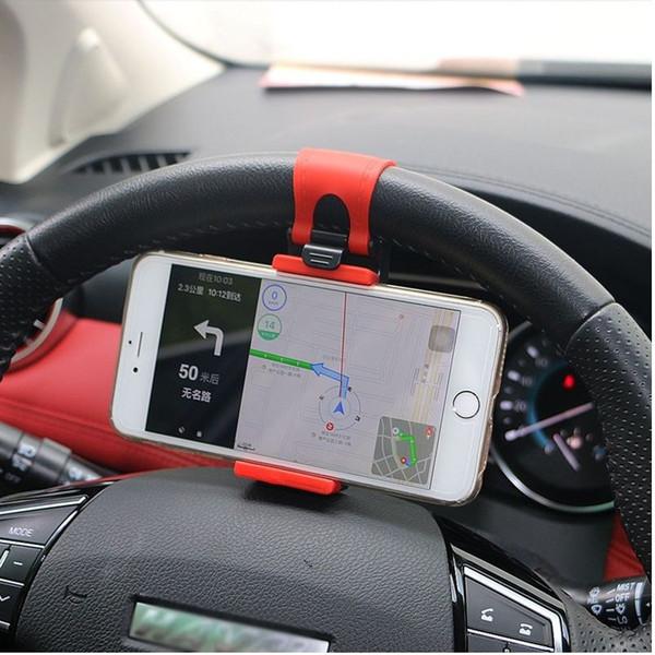 Evrensel Araba Direksiyon Klip Dağı Tutucu iphone 8 7 7 Artı 6 6 s Samsung Xiaomi Huawei Cep Telefonu GPS (Perakende)