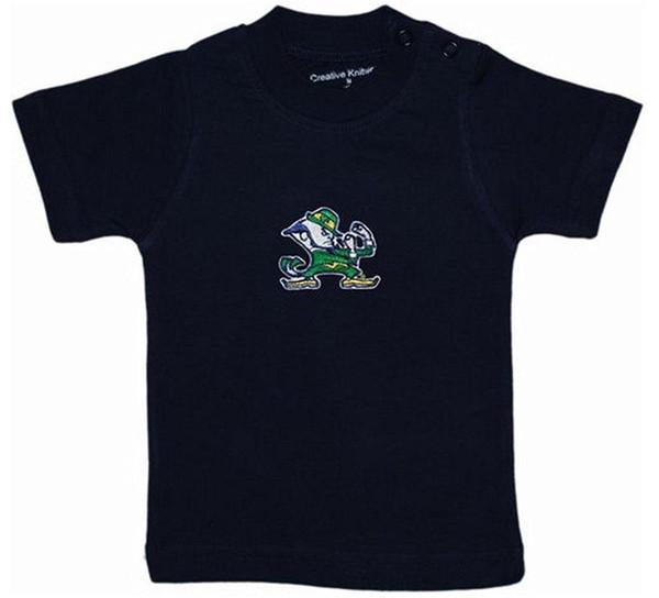 Classic Cotton Men Round Collar Short Sleeve Notre Dame Fighting Irish Navy Blue NCAA College Toddler Baby T-Shirt Tee
