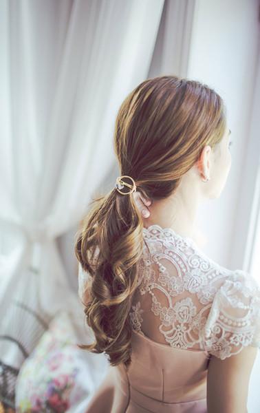 Mujeres Accesorios para el cabello Sombrero Círculo redondo con goma de cristal para el pelo Niñas Adorno Bandas de goma Bandas elásticas para el cabello