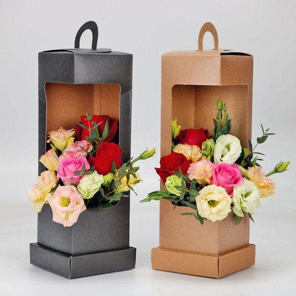 5pcs Lighthouse Portable Flower Paper Box Black and Brown Folding Floral Box Packaging Flower Basket Florist supplies free shipping