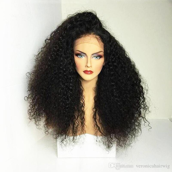Top Selling Black Afro Kinky Curly Wigs with Baby Hair 180% Density Full Density Synthetic Lace Front Wigs for Women Free Shipping