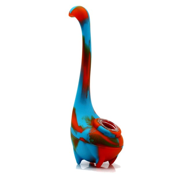DHL Free Shipping Ness monster unbreakable silicone Dab Oil Rig bubbler Smoking Pipe concentrate glass bong tobacco water pipe