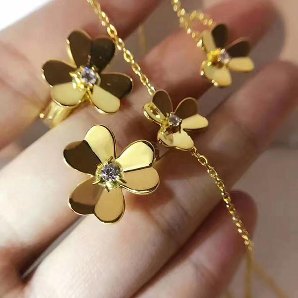 Top Messing Material Paris Design Armband mit Blume und Diamant dekorieren Einzel Armband Halskette Ring Ohrring für Frauen und Mutter Geschenk j