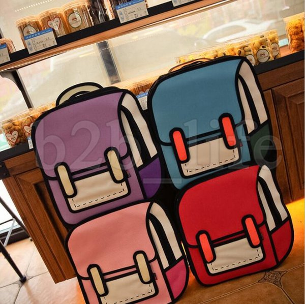 Comics 2D Backpack Fashion Student Backpack Canvas Backpack For Children 3D Jump Style 2D Drawing Cartoon Bag KKA5229