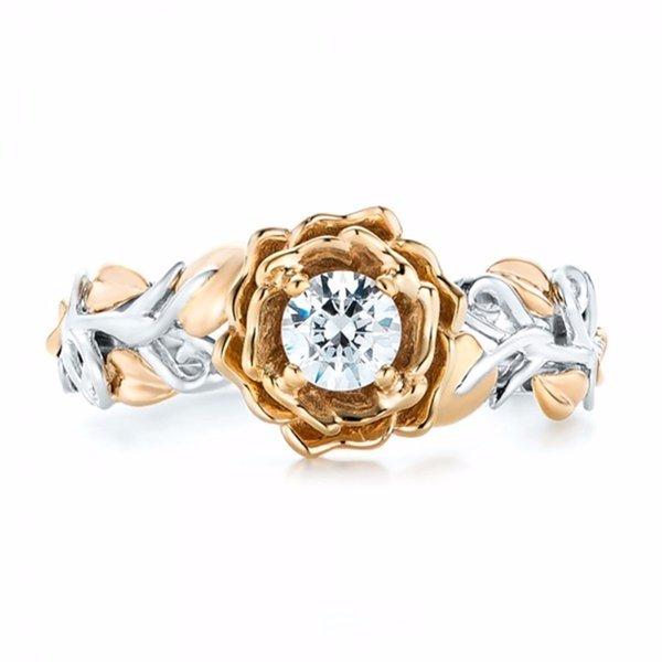 2017 New Fashion Silver Sterling Natural White Crystal Gold Flowers Leafs Ring Wedding Bridal Jewelry Gift #257057