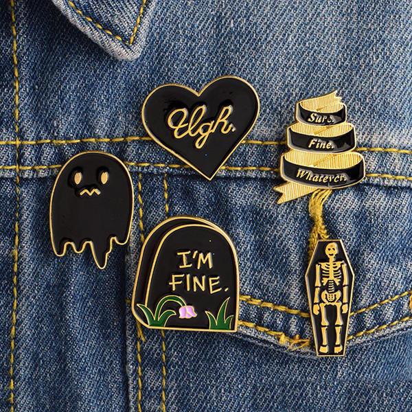 Smalto I'm Fine Tombstone Coffin Skull Ghost Spilla Pins Spilla Distintivo Donne Uomini Bambini Regalo Gioielli Moda Will e Sandy Drop Shipping