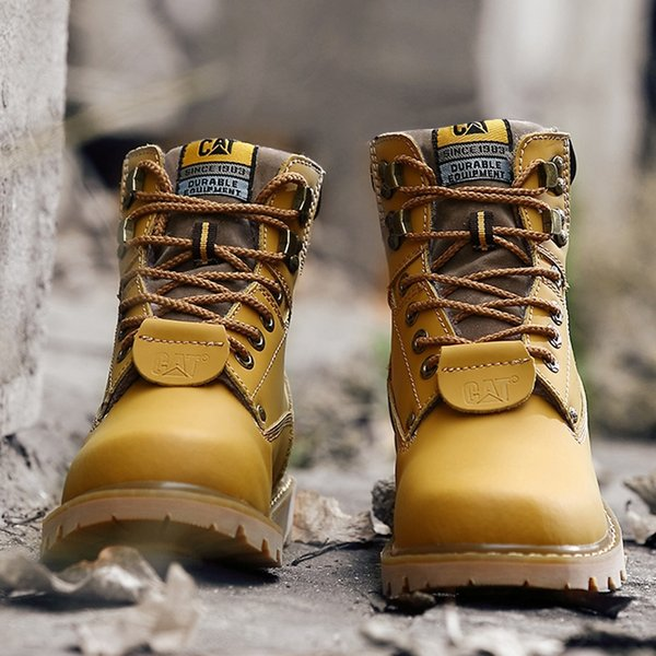 (US 4-13) Mens Womens Hiking Outdoor Work Shoes Martin boots Cowboy Leather Shoes Lovers Waterproof Ankle Boots Big Size EUR34-47