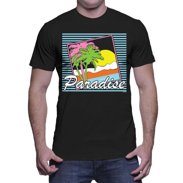 Cena da praia do paraíso - t-shirt dos homens da palma dos óculos de sol de Sun das ondas do verão