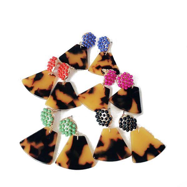 Frete Grátis Novo Design Geometria Tartaruga Resina Leopardo Do Parafuso Prisioneiro de Impressão Brinco, Pequeno Bonito Doce Cores Do Parafuso Prisioneiro Brinco