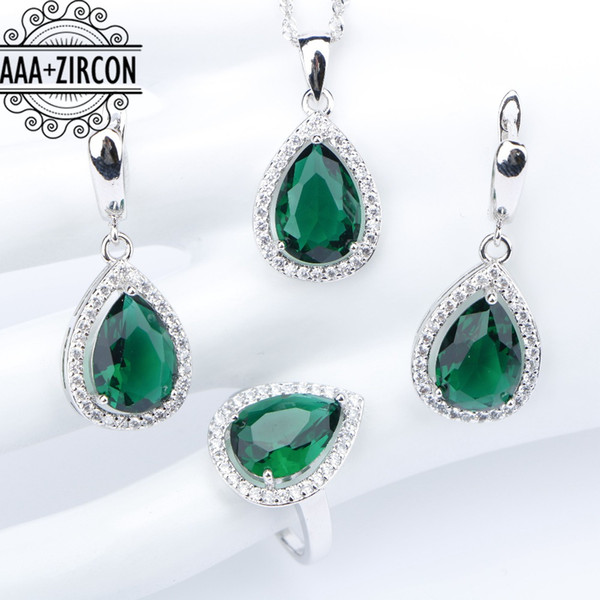 Wedding 925 Sterling Silver Costume Jewelry Sets For Women Green Zircon Rings Necklace Pendant Earrings With Stones Set Gift Box