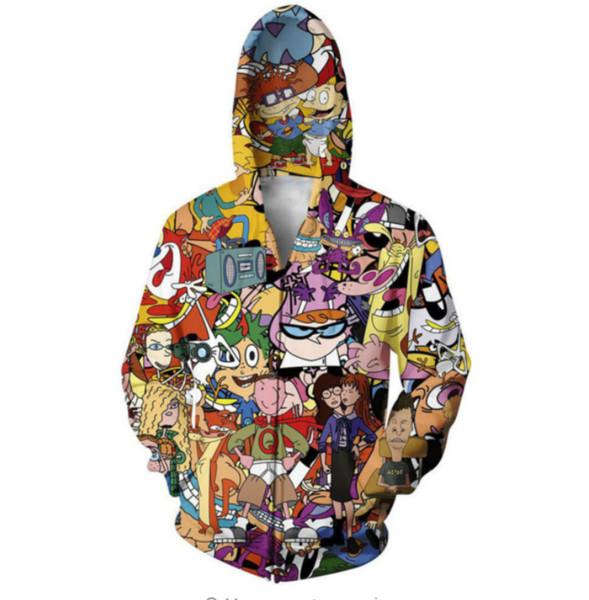 New Fashion Zipper Hoodie Totally 90s 3D Print Zip-Up Hoodies Psychedelic Sweatshirt Men/Women Harajuku Outfits Tops YY08