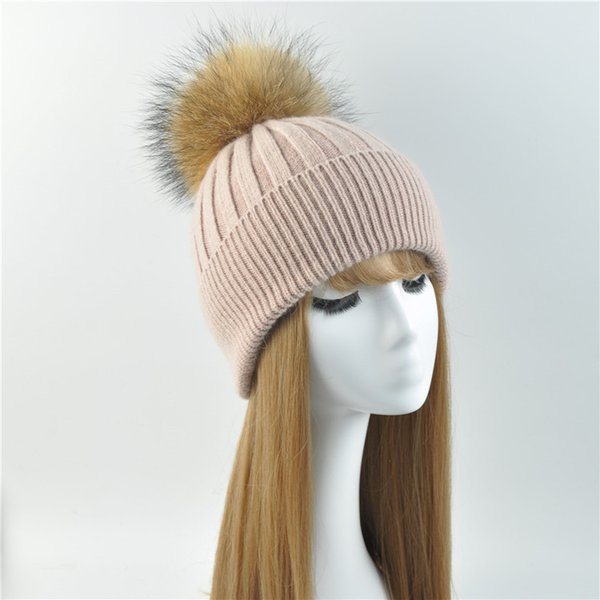 Women Winter Hat Female Removable Real Raccoon Fur Pompom Hat Cap Wool Knitted Natural Fur Pompon for Women Beanies
