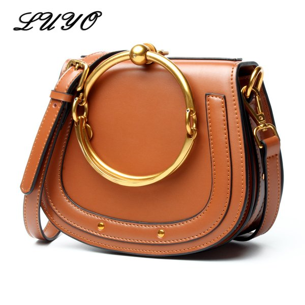LUYO Vintage Ring Genuine Leather Shoulder Bag Female Luxury Handbags Women Messenger Bags Designer For Woman Small Cloe Summer