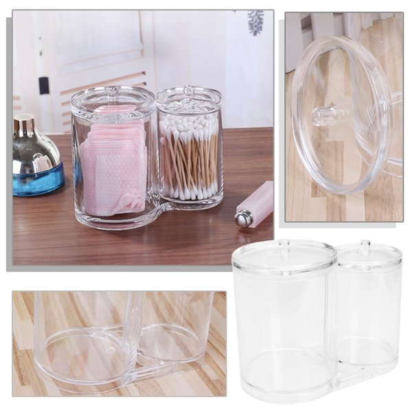 2 Barrels Cosmetic Organizer Case Box Makeup Swabs Cotton Pad Remover Paper Clear Storage Holder