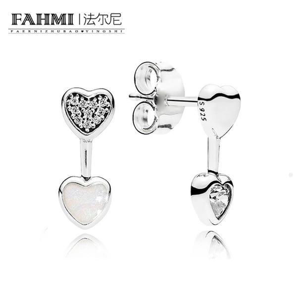 FAHMI 100% Sterling silver 1:1 Glamour 290750CZ Hearts of Love Stud Earrings Original Women wedding Fashion Jewelry 2018