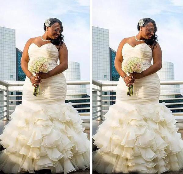 2018 Personalizado Plus Size Dubai Árabe Vestidos De Noiva Sereia Em Camadas Ruched Drapeado Robe De Casamento Querida Longo Até O Chão Vestidos de Noiva