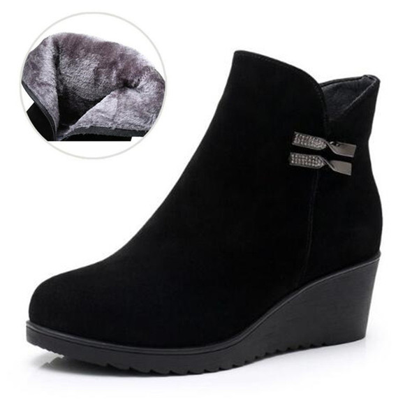 2018 New Large Size Autumn/Winter Boots Black Genuine Leather Boots Women Shoes Comfort Warm Plus Velvet Wedges Shoes Ankle Boots for Women