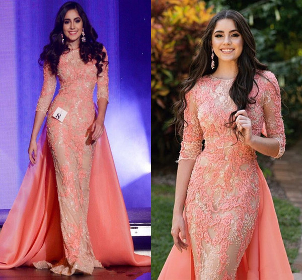 Coral Peach Evening Formal Pageant Dresses with Detachable Train 2018 Modest Lace Applique Beaded Jewel Mermaid Prom Party Gown